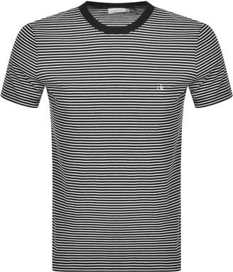 Calvin Klein Small Stripe Logo T Shirt Black