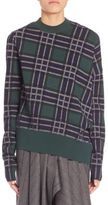 Cédric Charlier Asymmetrical Plaid Wool Sweater