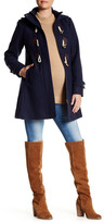 Kimi + Kai Paisley Wool Blend Faux Leather Toggle Coat (Maternity)