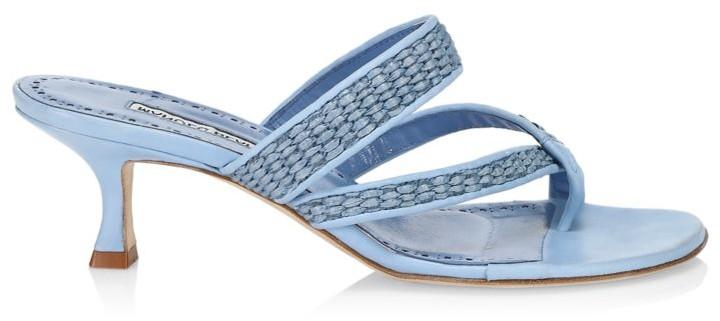Manolo Blahnik Susa Kitten-Heel Woven Leather Thong Sandals