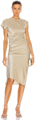 Paco Rabanne Metallic Side Ruched Dress in Silver & Gold | FWRD