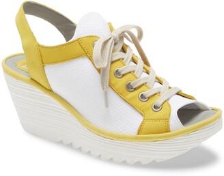 Fly London Yedu Lace-Up Wedge Sandal