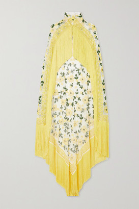 Naeem Khan Fringed Embroidered Tulle Cape - Yellow
