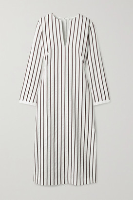 Loro Piana Striped Cotton-blend Jacquard Midi Dress - White