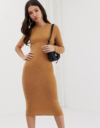 Asos Design DESIGN midi rib dress with open back-Beige