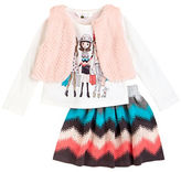 Petit Lem Girls 2-6x Girls Three-Piece Chic and Love Top, Vest and Skirt Set