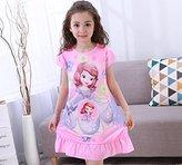 Little Girls Short Sleeve Nightgown Pajamas Solid Sleepwear (T10 100-115CM, Pink)