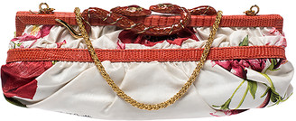 Roberto Cavalli Multicolor Floral Satin and Snakeskin Effect Leather Frame Chain Clutch