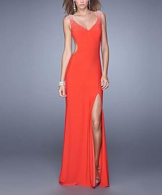 La Femme Women's Special Occasion Dresses Strawberry - Strawberry Rhinestone-Shoulder Side-Slit V-Neck Gown - Women