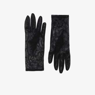 Tender And Dangerous Womens Black Embroidered Tulle Gloves