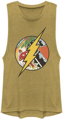 Licensed Character Juniors' DC Comics Flash Comic Cover Logo Muscle Tank