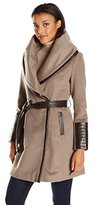Via Spiga Women's Wool Wrap with Faux Leather Brown Detail