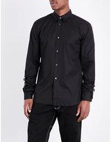 Comme Des Garcons Shirt Buckle-detailed Slim-fit Cotton-poplin Shirt