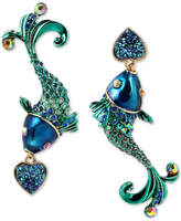Betsey Johnson Gold-Tone Multi-Stone Fish Mismatch Drop Earrings