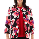 Alfred Dunner Play On Color 3/4-Sleeve Floral Print Jacket