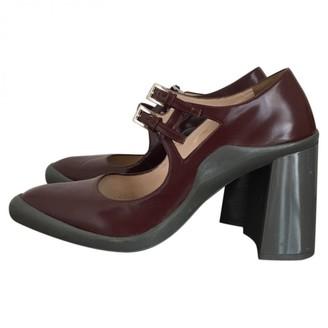 Prada Mary Jane Burgundy Leather Heels