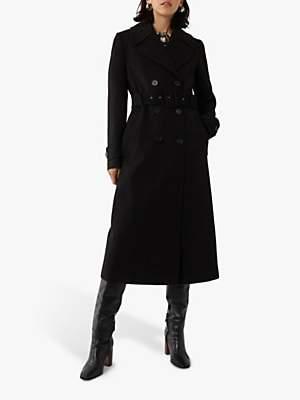 Warehouse Full Length Belted Coat, Black