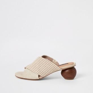 River Island Beige cross over wooden heel sandals