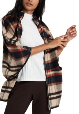 Riley & Rae Darcey Plaid Faux-Leather-Trim Cape, Created for Macy's