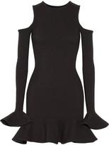Michael Lo Sordo - Cutout Ruffled Stretch-knit Mini Dress - Black