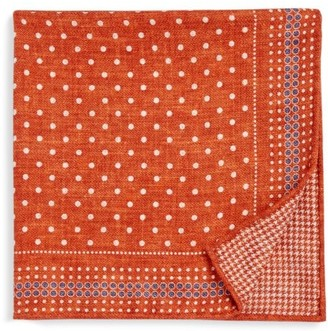 Brunello Cucinelli Reversible Dot & Houndstooth-Print Pocket Square