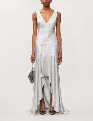 Galvan V-neck fishtail metallic stretch-woven gown
