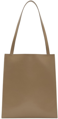 The Row Tan Leather Flat Tote