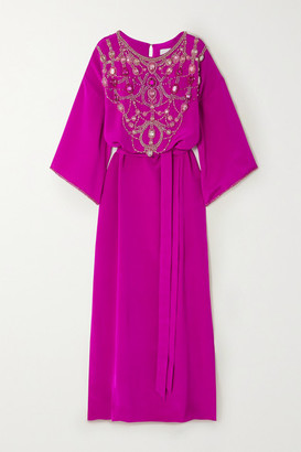 Marchesa Belted Crystal-embellished Silk-crepe Gown - Fuchsia