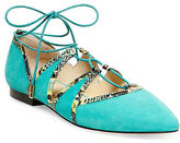 Brian Atwood B-Sanaa Suede Ghillie Flats