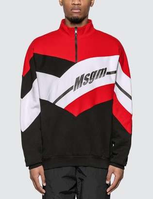 MSGM Half Zip Colorblock Sweatshirt