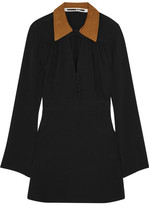 McQ by Alexander McQueen Faux Suede-trimmed Crepe Mini Dress - Black
