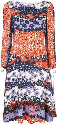 Lela Rose Floral Long-Sleeve Midi Dress