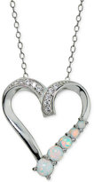 Giani Bernini Cubic Zirconia and Iridescent Stone Heart Pendant Necklace in Sterling Silver, Only at Macy's