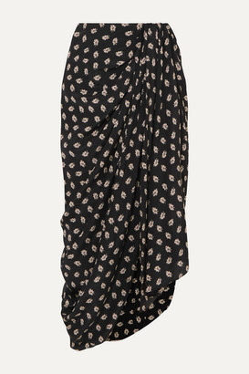 Isabel Marant Candice Draped Floral-print Silk-crepe Midi Skirt - Black