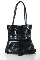 Sabina Black Leather Double Strap Tote Shoulder Handbag