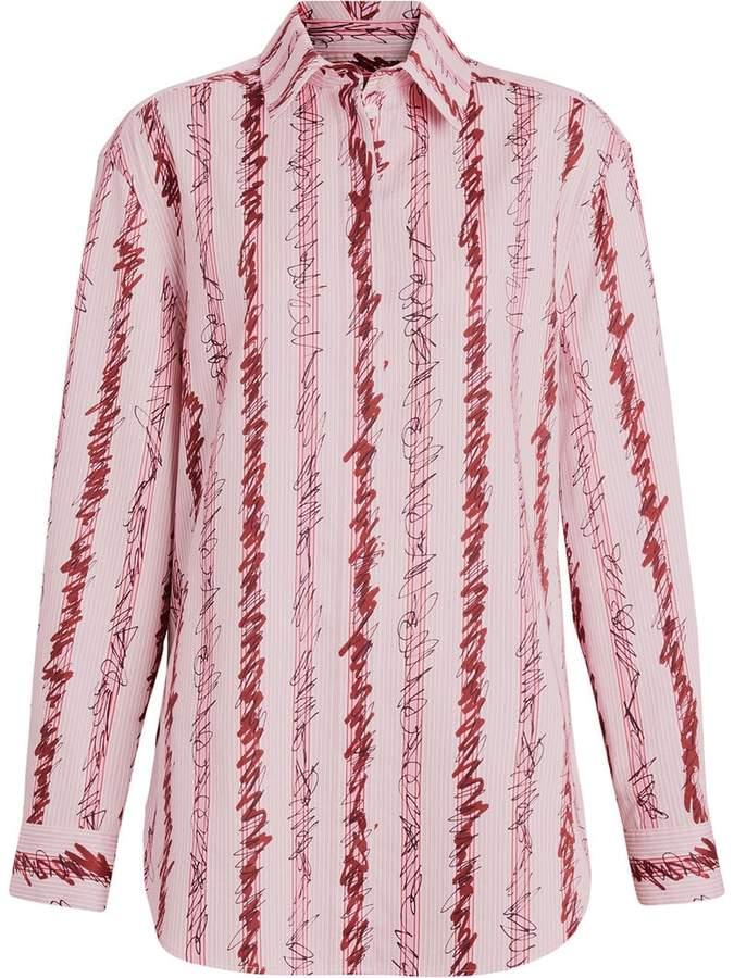 Burberry Scribble Stripe Cotton Shirt