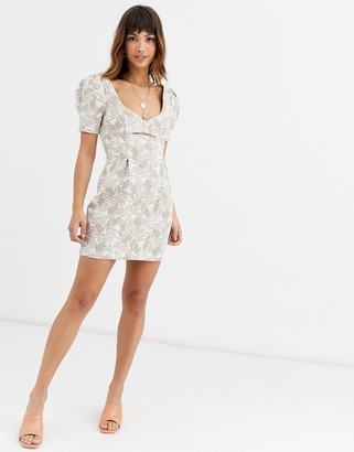 Bec & Bridge kahuna cut out printed mini dress