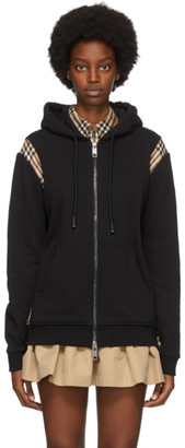 Burberry Black Check Panel Zip-Up Hoodie