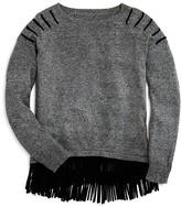 Aqua Girls' Fringed Hem Heather Sweater - Sizes S-XL