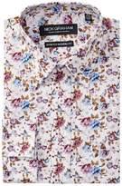 Nick Graham Floral Print Stretch Modern Fit Dress Shirt