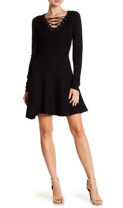 Nina Leonard V-Neck Lace-Up Sweater Dress