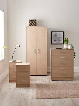 Barlow Ready Assembled 4 Piece Package - 2 Door Wardrobe, Chest of 5 Drawers and 2 Bedside Chests