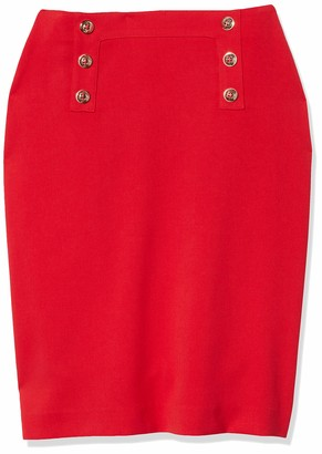 Tahari ASL Women's Plus Size Fitted Pencil Skirt with Buttons