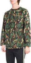 Palm Angels Camouflage Logo Long-Sleeve Cotton T-Shirt, Green