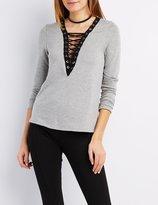 Charlotte Russe Lace-Up V-Neck Sweatshirt