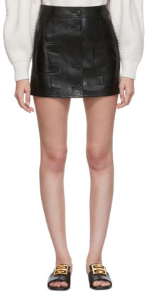 Givenchy Black Leather Miniskirt
