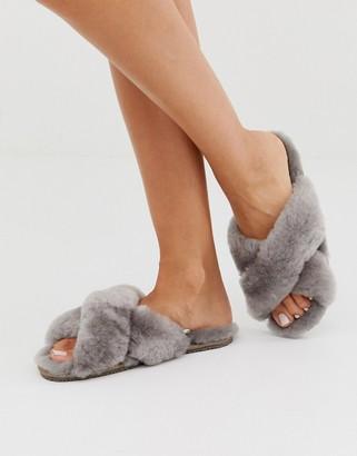Just Sheepskin cross strap slippers-Pink