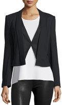 Halston Wool-Blend Suiting Combo Jacket, Black