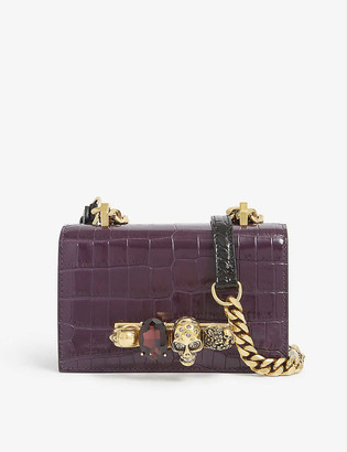 Alexander McQueen Crocodile-embossed leather satchel bag