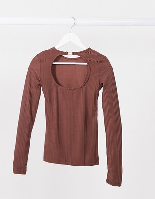 Stradivarius long sleeve jersey top with open back in brown
